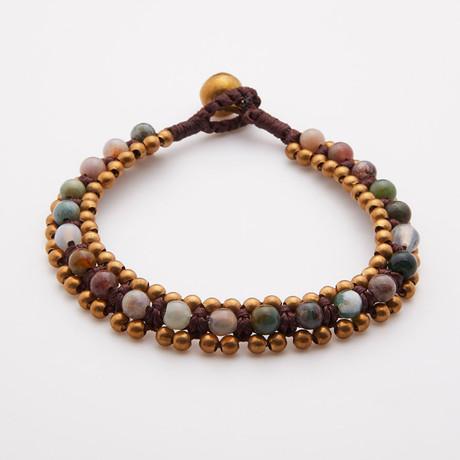 Jean Claude Jewelry // Shambala Leather Bracelet + Mix Agate Beads // Green + Gold