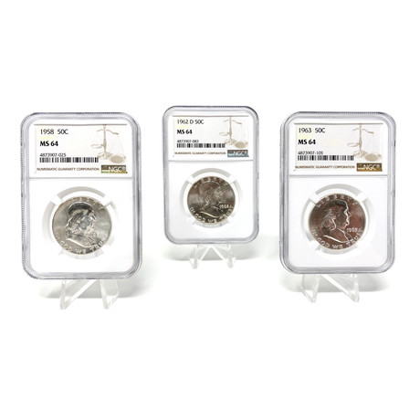 Franklin Half Dollar Legacy Collection // 1955-63 // NGC Certified Mint State Condition // Set of 3