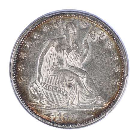 1874 Seated Liberty Half Dollar, with Arrows, PCGS Certified AU55