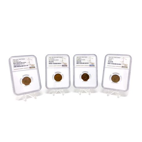 1861-1865 Civil War Patriotic Tokens // NGC Certified Mint State Condition // Set of 4