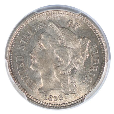 1866 Three Cent Nickel PCGS Certified MS65