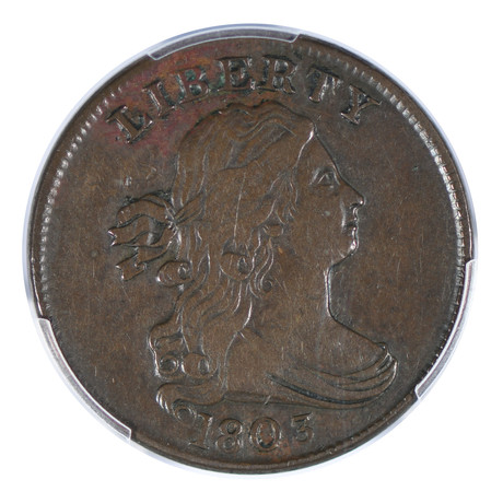 1803 Draped Bust Half-Cent PCGS Certified XF40