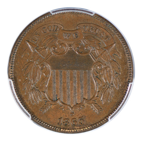1865 Two Cent Piece PCGS Certified MS62BN