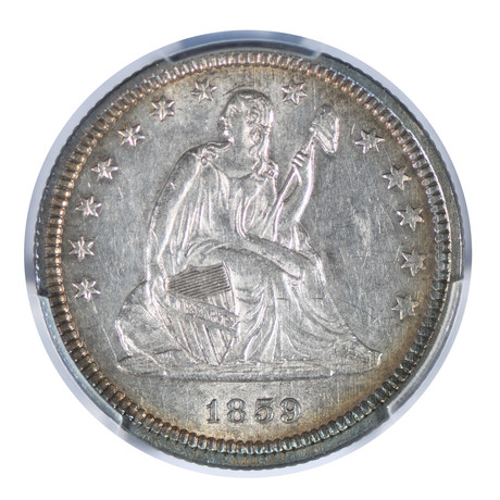 1859 Seated Liberty Quarter PCGS Certified AU55