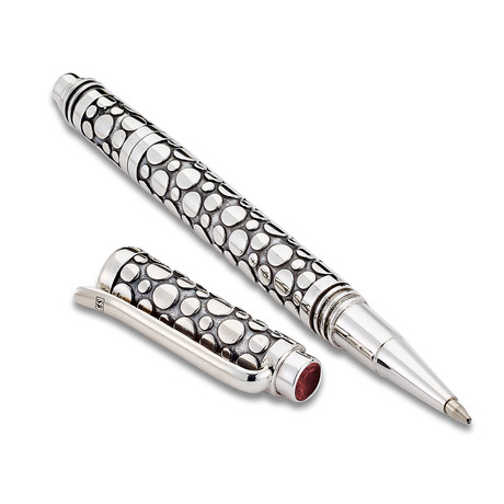 Handmade Bali Dot Design Pen // Sterling Silver (Amethyst Endcap)
