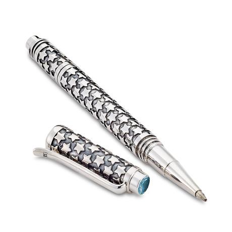 Bali Star Design Pen // Sterling Silver (Blue Topaz Endcap)