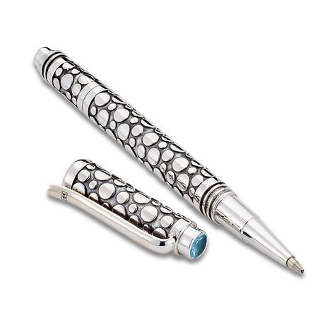 Handmade Bali Dot Design Pen // Sterling Silver (Blue Topaz Endcap)