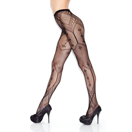 Harlequin Pantyhose Set + Starlet Thigh High Bundle Set // Black + Red