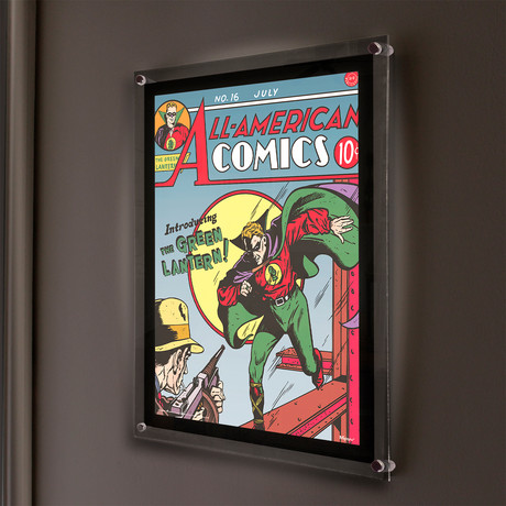 Green Lantern (Introducing The Green Lantern) // MightyPrint™ Wall Art // Backlit LED Frame