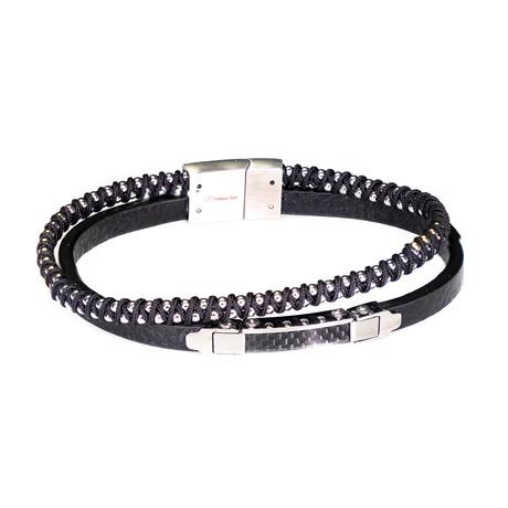 Dell Arte // Leather + Stainless Steel Bracelet // Silver + Black