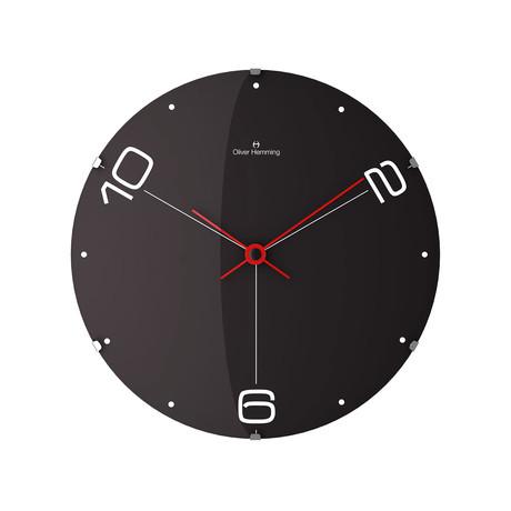 Vitri 370mm Domed Glass Wall Clock // Stainless Steel // V1