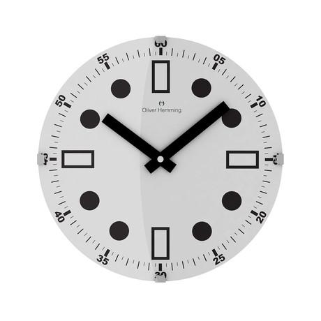 Vitri 300mm Domed Glass Wall Clock // Stainless Steel // V2