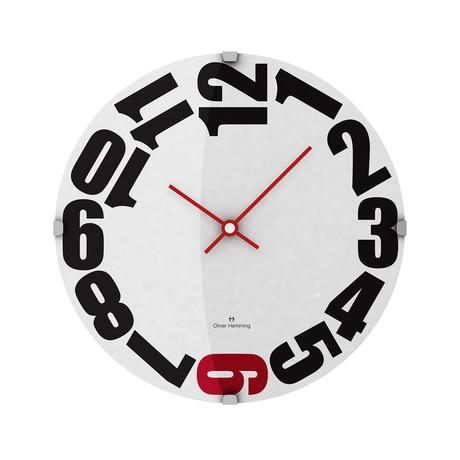 Vitri 300mm Domed Glass Wall Clock // Stainless Steel // V1