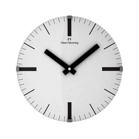Vitri 300mm Domed Glass Wall Clock // Stainless Steel // V10