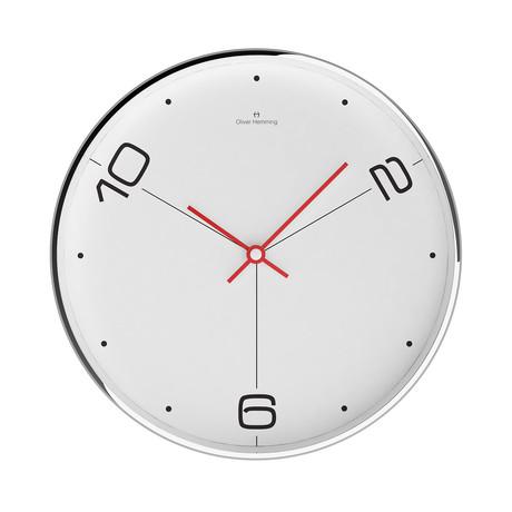 Simplex 300mm Thin Rim Wall Clock // Chrome Steel // V1 (White + Black)