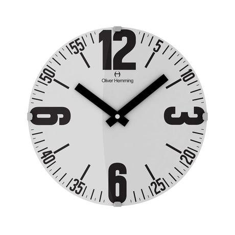 Vitri 300mm Domed Glass Wall Clock // Stainless Steel // V5