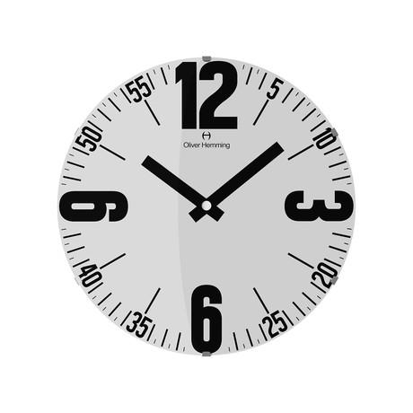 Vitri 370mm Domed Glass Wall Clock // Stainless Steel // V4