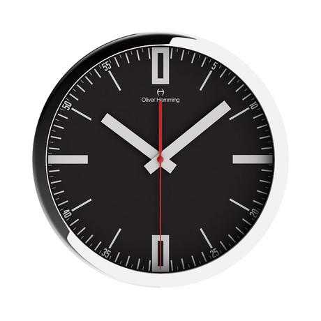 Duplex Wide Rim Wall Clock // Chrome Steel // V4