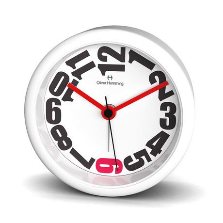 City 80mm Alarm Clock // White Acrylic (White + Red)