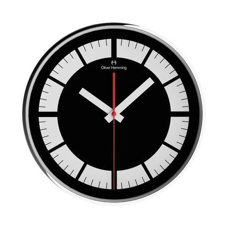 Simplex 300mm Thin Rim Wall Clock // Chrome Steel // V7