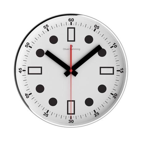 Simplex 300mm Thin Rim Wall Clock // Chrome Steel // V3