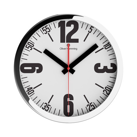 Duplex Wide Rim Wall Clock // Chrome Steel // V6