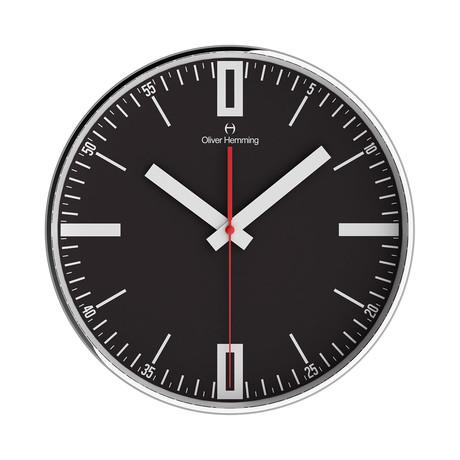 Simplex 300mm Thin Rim Wall Clock // Chrome Steel // V4