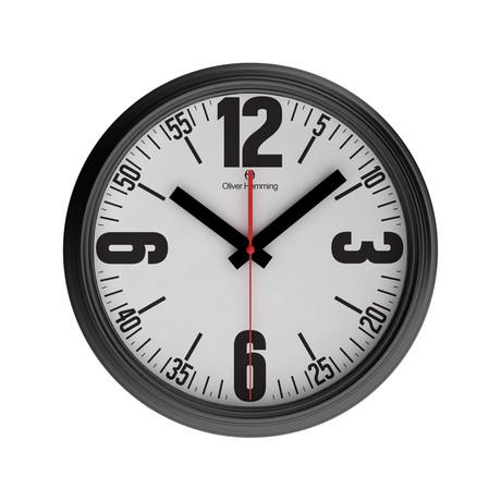 360mm Garage Wall Clock // Black Chrome Steel // V2