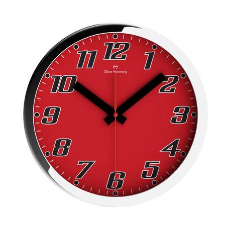Duplex Wide Rim Wall Clock // Chrome Steel // V2 (Red)