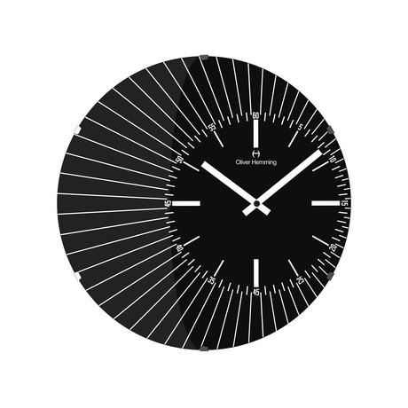 W370 Domed Glass Off Center Vitri Clock // Stainless Steel (Black)