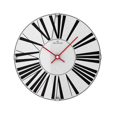 Vitri 300mm Domed Glass Wall Clock // Stainless Steel // V3