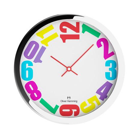 Duplex Wide Rim Wall Clock // Chrome Steel // V1 (Multicolor)