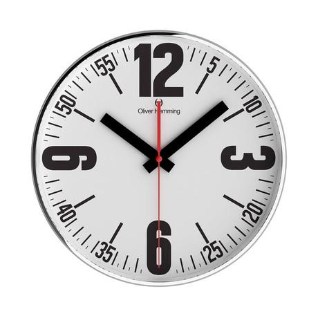 Simplex 300mm Thin Rim Wall Clock // Chrome Steel // V5