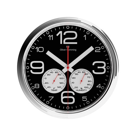 360mm Climate Center Wall Clock // Chrome Steel (Black)
