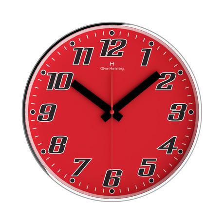 Simplex 300mm Thin Rim Wall Clock // Chrome Steel // V2 (Red)