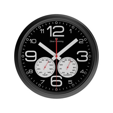 360mm Climate Center Wall Clock // Black Chrome Steel (Black)