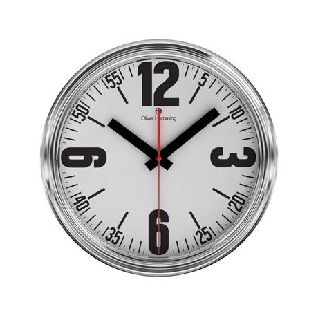 360mm Garage Wall Clock // Chrome Steel // V2