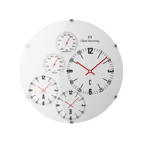 3-Time Zone Weather Wall Clock // Stainless Steel