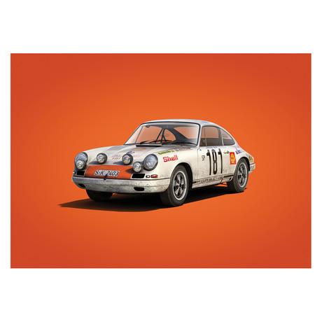 Porsche 911R // White // Tour de France // 1969 // Colors of Speed Poster