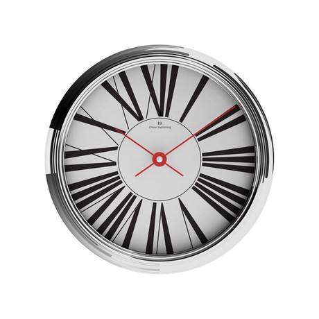 360mm Garage Wall Clock // Chrome Steel // V1