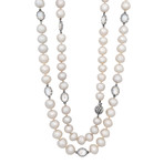 Assael 18k White Gold Single Strand Moonstone + South Sea Pearl Necklace I