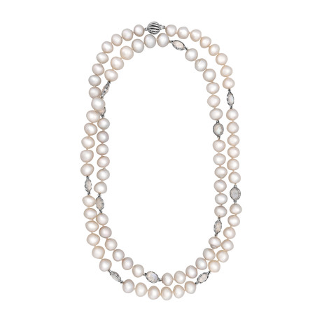 Assael 18k White Gold Single Strand Moonstone + South Sea Pearl Necklace