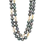 Assael 18k Yellow Gold Single Strand Moonstone + Tahitian Pearl Necklace