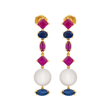 Assael Julie Parker 18k Yellow Gold Ruby + Sapphire + Fresh Water Pearl Earrings