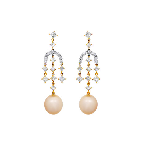 Assael 18k Two-Tone Gold Golden South Sea Pearl Earrings