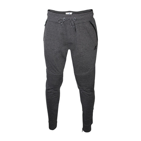 Motto Detail Fleece Jogger // Black Mix (S)