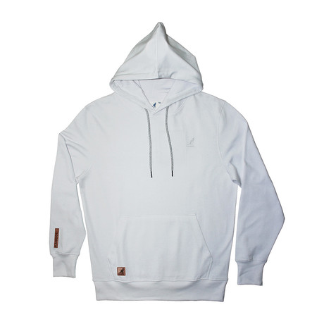 Fleece Hoodie + Two-Tone Drawcord // Bright White (S)