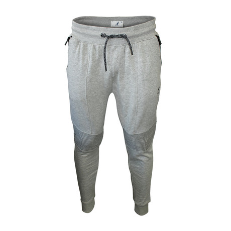 Motto Detail Fleece Jogger // Gray Mix (S)