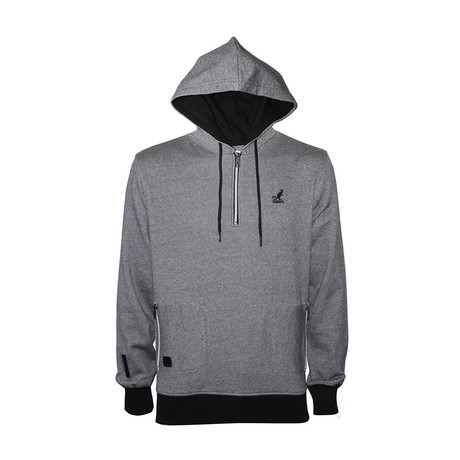 Twisted Yarn 1/4 Zip Hoodie // Black + Charcoal (S)