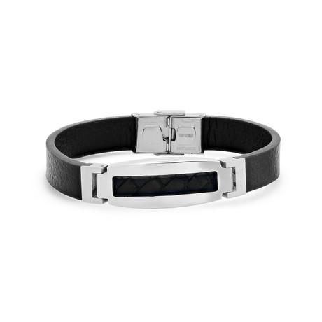 Leather + Stainless Steel Bracelet // Black + Silver